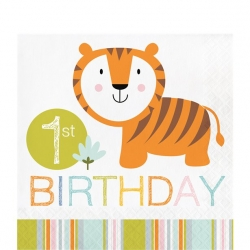 Happi Jungle Safari Party 1st Birthday Napkins