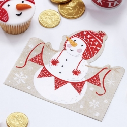 Ginger Ray Santa & Friends Snowman Shaped Napkins