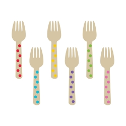 Wooden Buffet Forks Rainbow