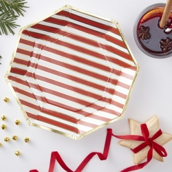 Candy Cane Stripped Christmas Party Plates
