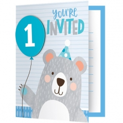 Birthday Bear Party 1st Birthday Invitations With Attachments