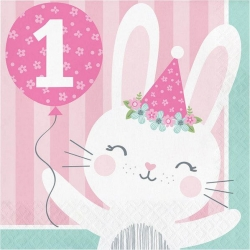 Birthday Bunny Party 1st Birthday Napkins