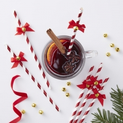 Candy Cane Christmas Paper Straws With Bells