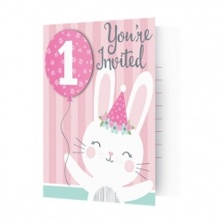 Birthday Bunny 1st Birthday Invitations