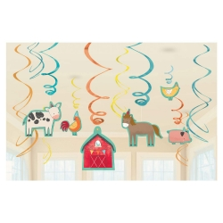 Barnyard Birthday Party Swirl Decorations