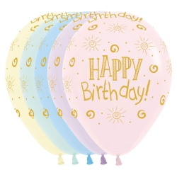 Pastel Happy Birthday Party Balloons