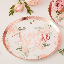 Team Bride Floral Party Plates