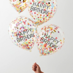 Over The Rainbow Happy Birthday Confetti Balloons
