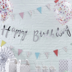 Ginger Ray Silver Happy Birthday Banners