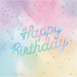 Iridescent  Happy Birthday Party Napkins