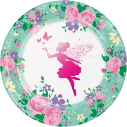 Floral Fairy Sparkle Deluxe Party Plates
