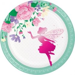 Floral Fairy Sparkle Deluxe Party Lunch Plates