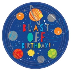 Blast Off Space Birthday Party Plates