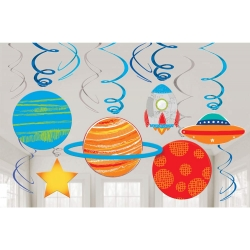 Blast Off Space Birthday Paper Party Swirls