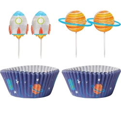 Blast Off Space Birthday Party Cake Cases & Toppers