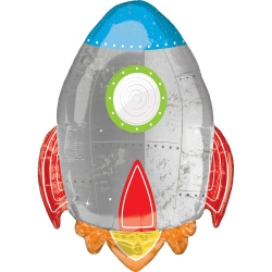 Blast Off Birthday Rocket Party SuperShape Foil Balloon