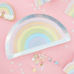 Ginger Ray Pastel Rainbow Plates