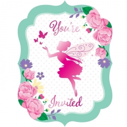 Floral Fairy Sparkle Deluxe Party Invitations