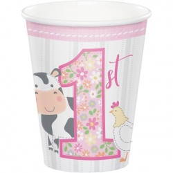 1st Birthday Farmhouse Pink Party Cups