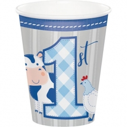 1st Birthday Farmhouse Blue Party Cups