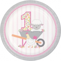 1st Birthday Farmhouse Pink Party Plates