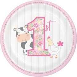 1st Birthday Farmhouse Pink Party Lunch Plates