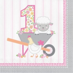 1st Birthday Farmhouse Pink Party Napkins