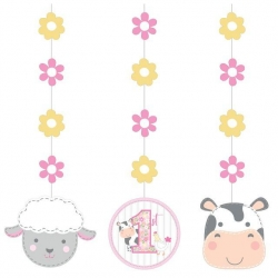 1st Birthday Farmhouse Pink Hanging Decorations