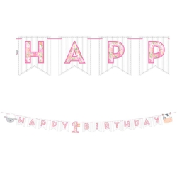 1st Birthday Farmhouse Pink Ribbon HB Banner