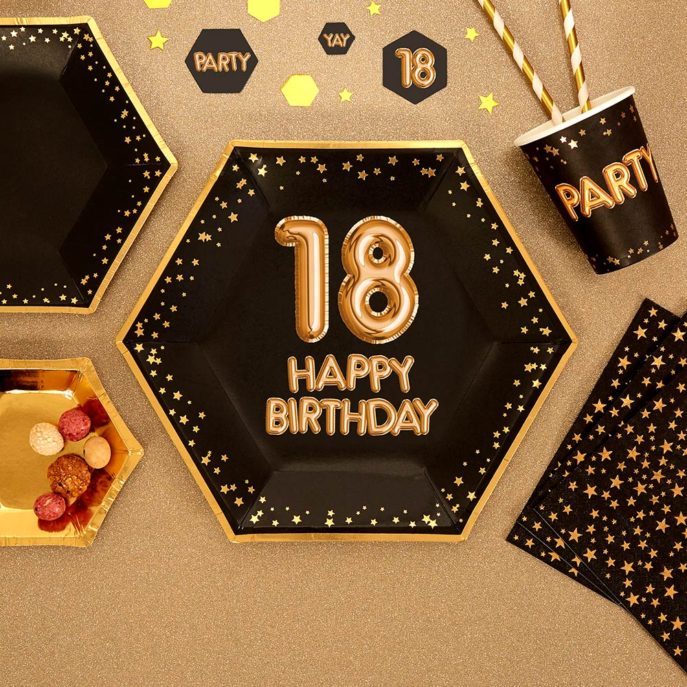 Glitz & Glamour Black 18th Party Plates