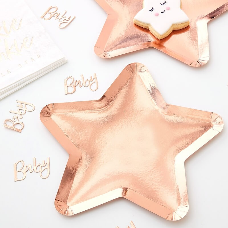 Rose Gold Twinkle Twinkle Star Plates