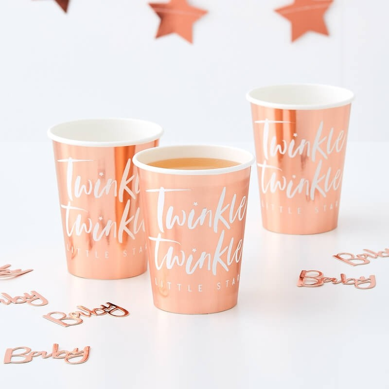 Rose Gold Twinkle Twinkle Party Cups