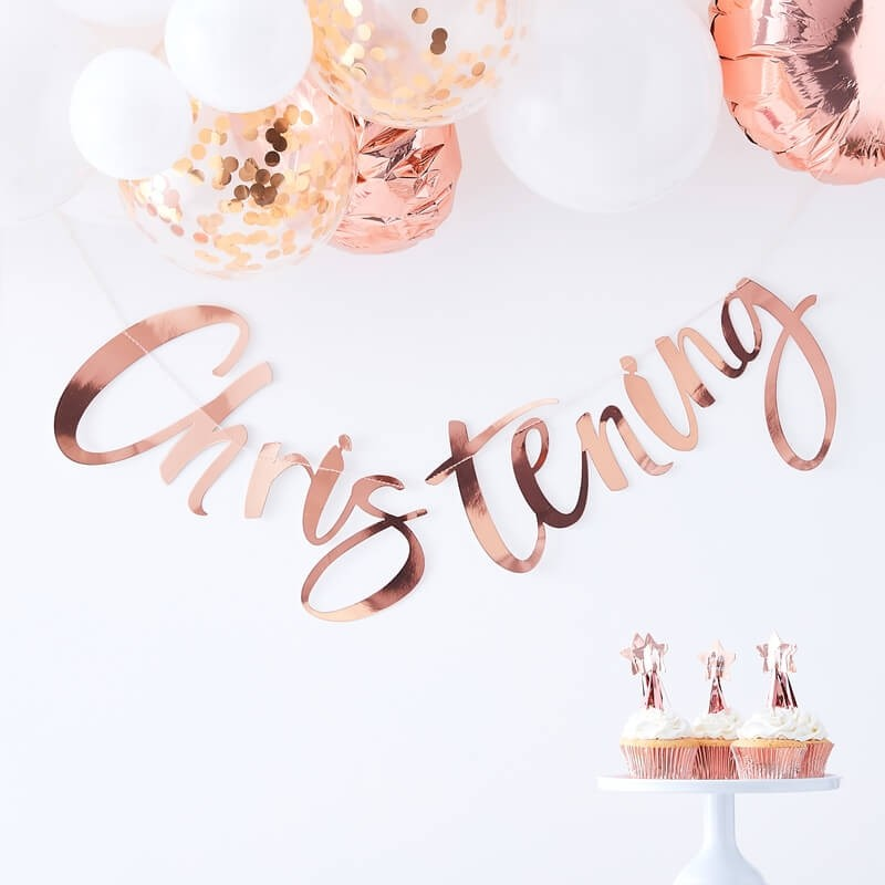 Rose Gold Twinkle Twinkle Baby Christening Banner