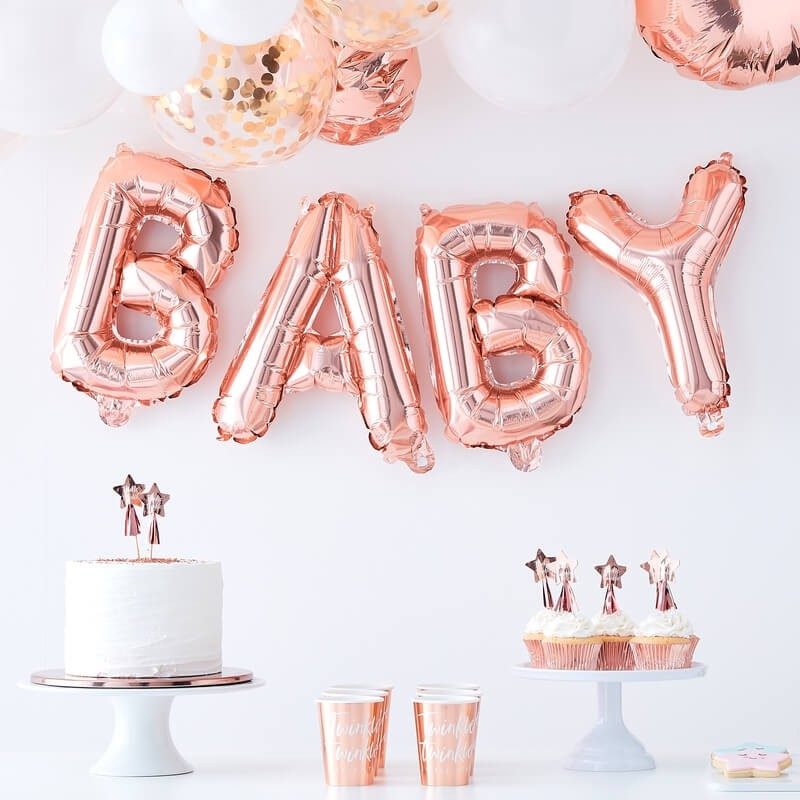Rose Gold Twinkle Twinkle Baby Balloon Bunting