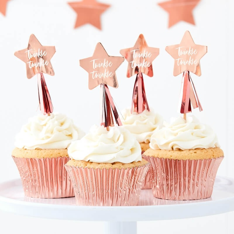 Rose Gold Twinkle Twinkle Cupcake Toppers