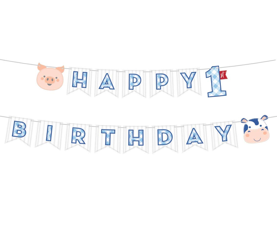 1st Birthday Farmhouse HB Blue Ribbon Banner