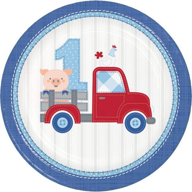 1st Birthday Farmhouse Blue Party Plates