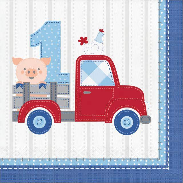 1st Birthday Farmhouse Blue Party Napkins