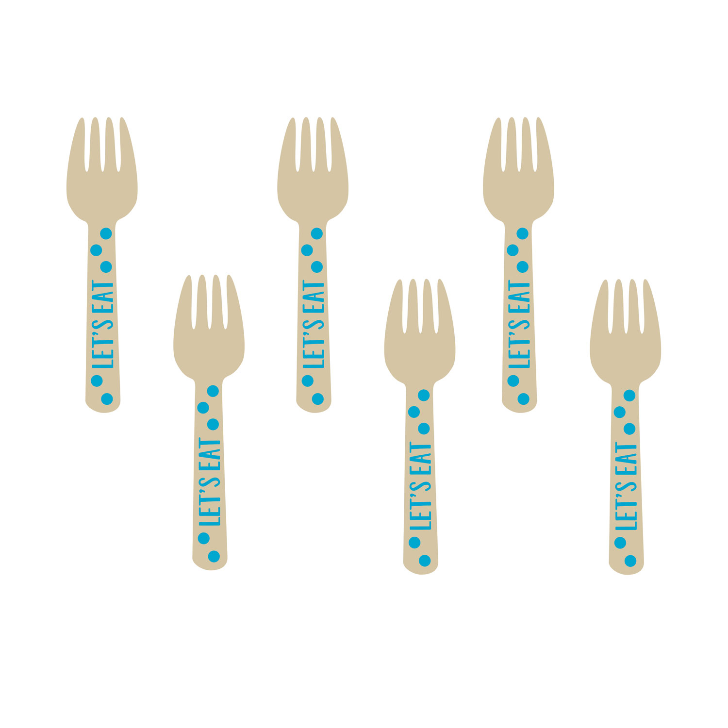 Wooden Buffet Forks Blue