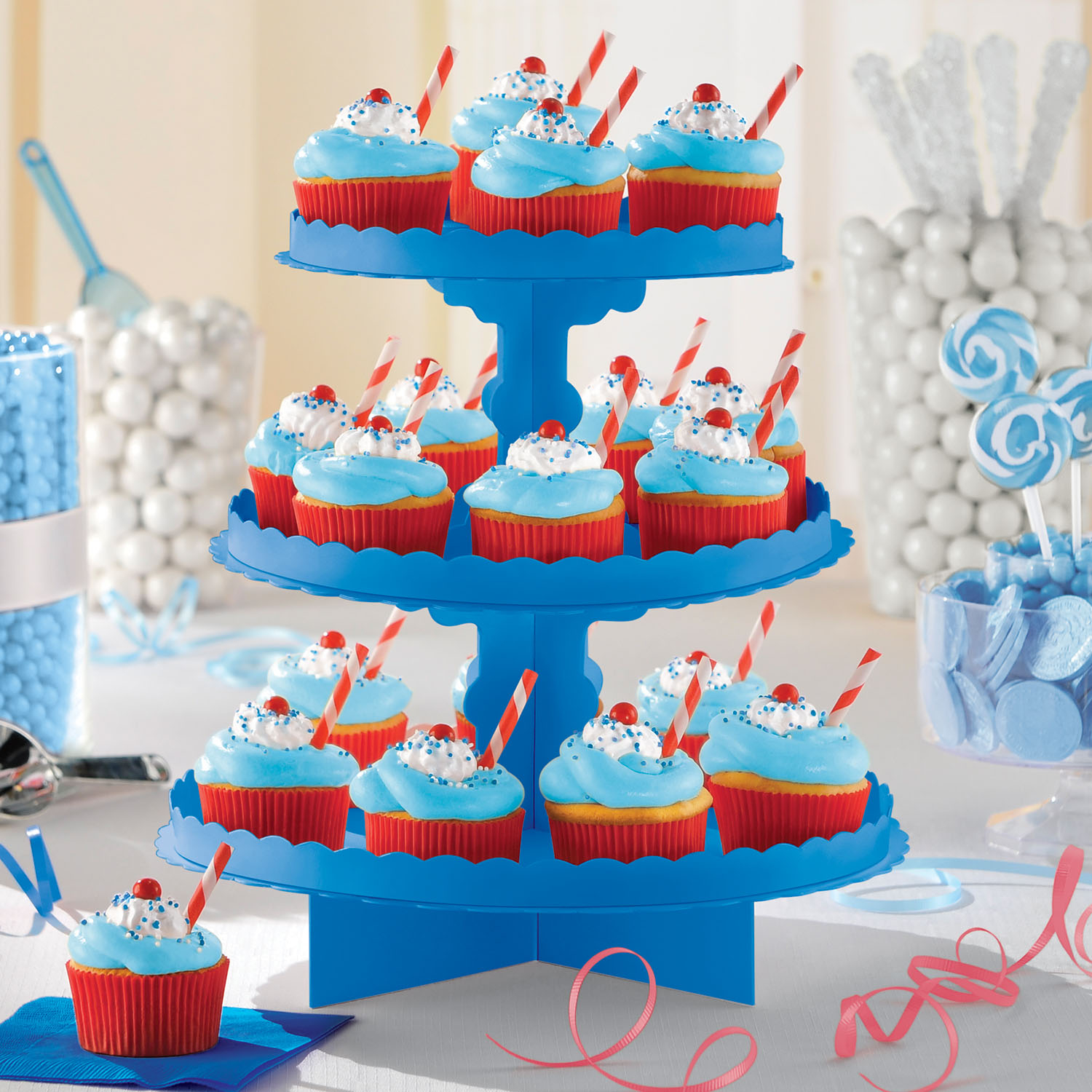 Bright Blue Party Cupcake Stand