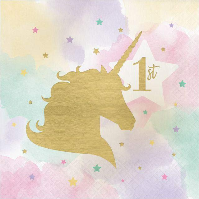 Unicorn Sparkle Deluxe Party Napkins 1st Birthday