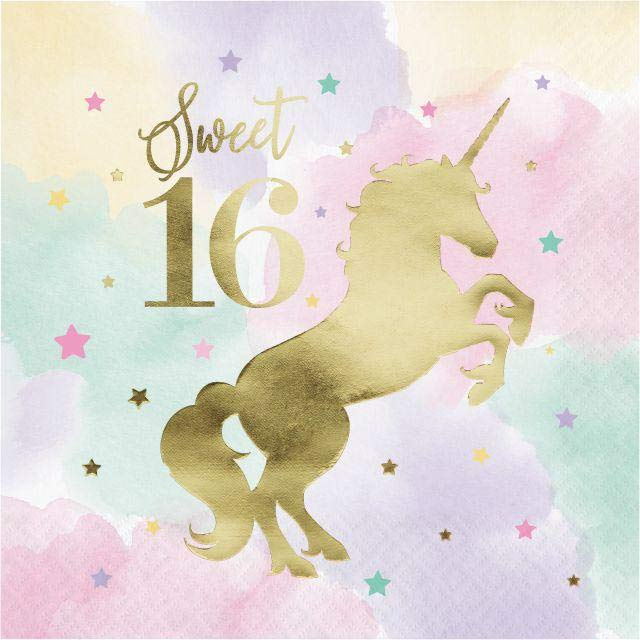 Unicorn Sparkle Deluxe Party Napkins 16th Birthday