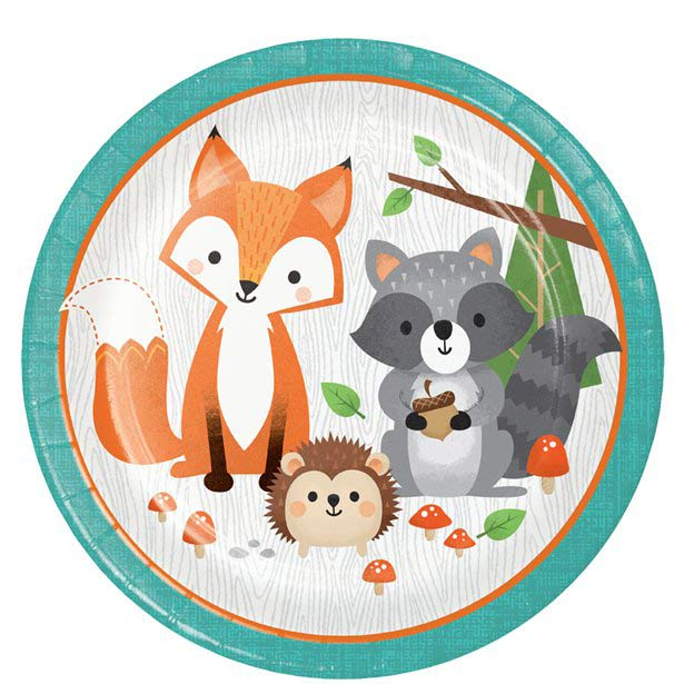 Wild One Woodland Animals Party Plates