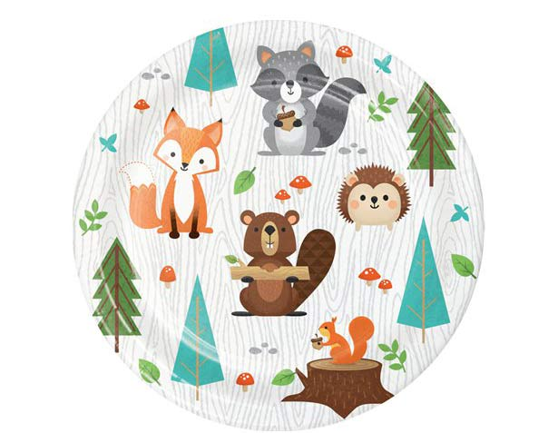 Wild One Woodland Animals Lunch Party Plates