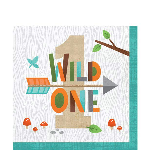 Wild One Woodland Animals Party 1st Napkins