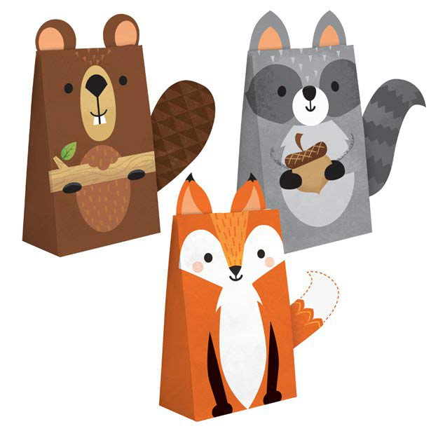 Wild One Woodland Animals Party Treat Bags