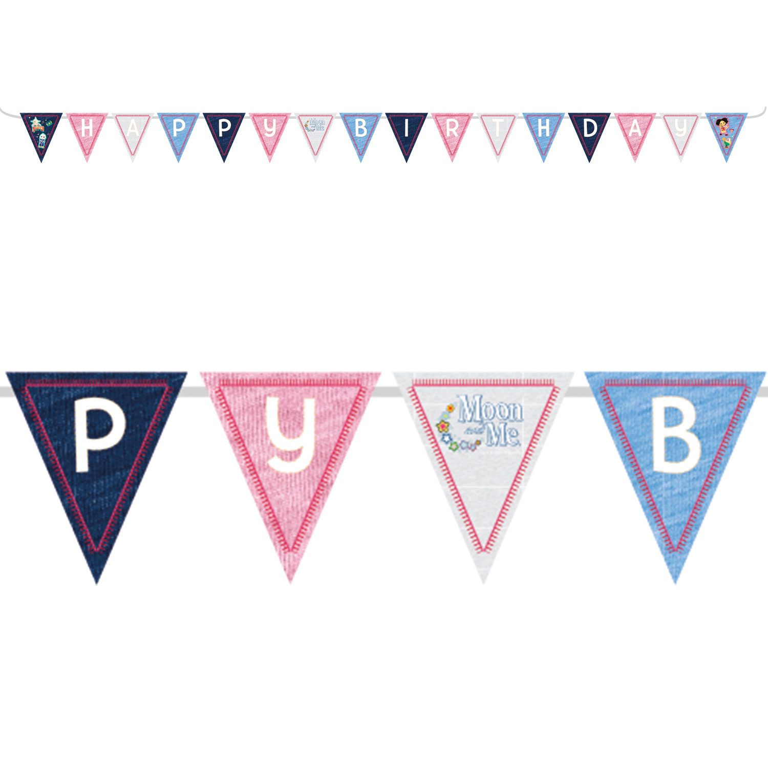 Moon And Me Party Happy Birthday Flag Banner