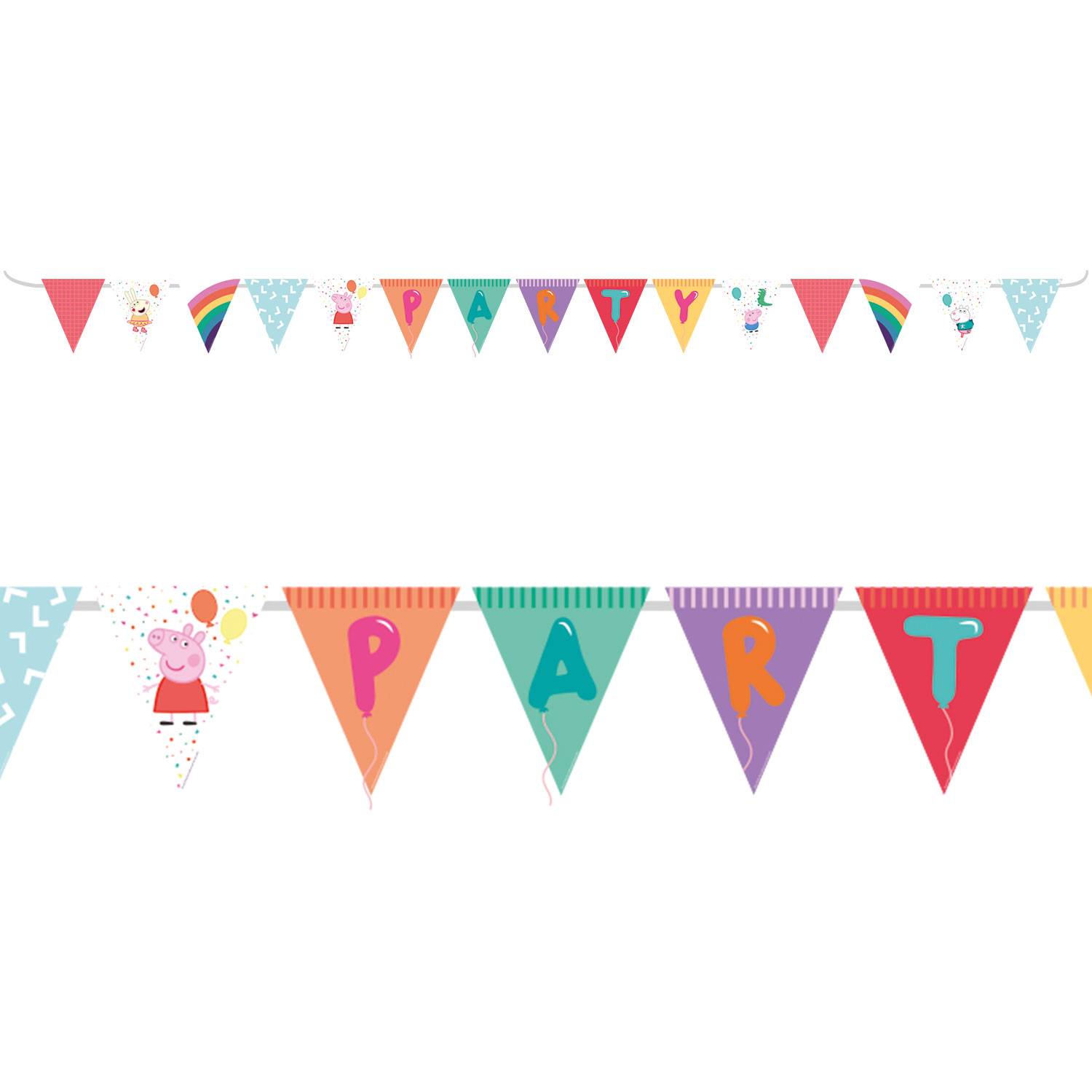 Peppa Pig Rainbow Party Flag Banners