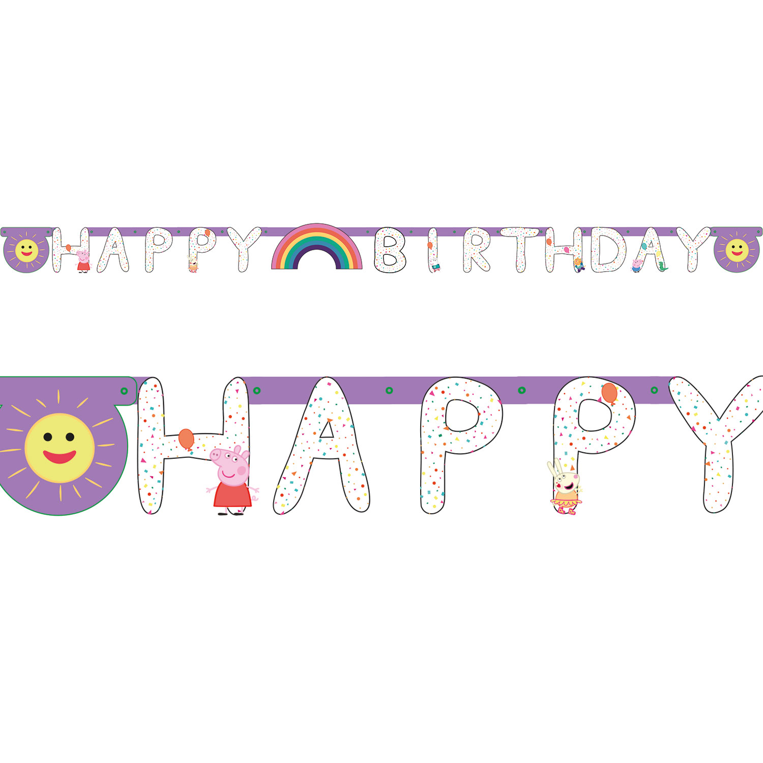 Peppa Pig Rainbow Party Letter Banner