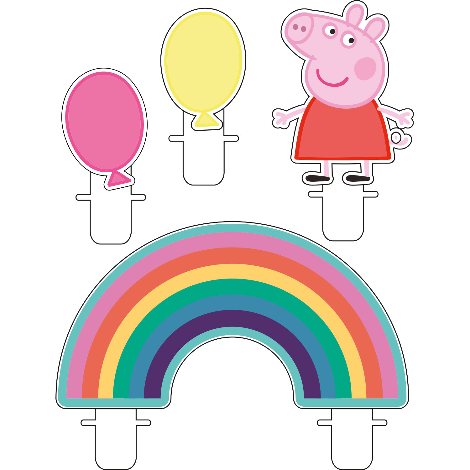 Peppa Pig Rainbow Party Candle Kit